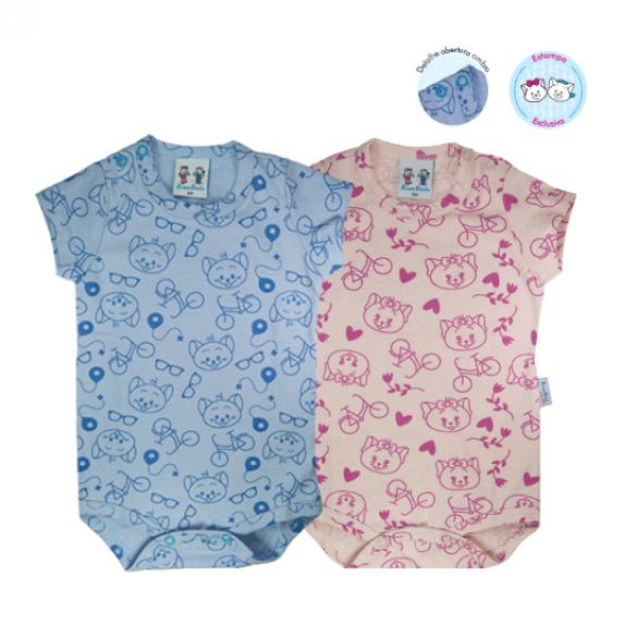 Body gatinhos curto. Ref: 10-55. Cor: azul, rosa Tam: P ao G. Malha 100% algodão