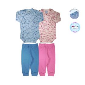 Conjunto gatinhos. Ref: 11-25. Cor: azul, rosa Tam: RN ao GG. Malha 100% algodão