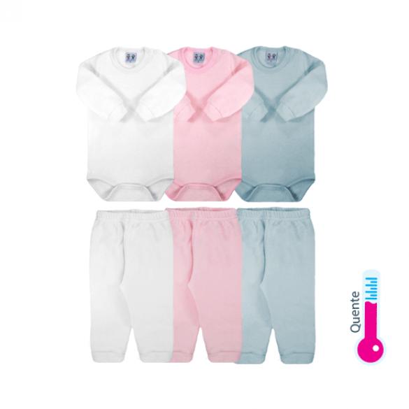 Conjunto de body soft glacê Ref: 11-47 Tam: RN ao G Cor: branco, rosa, azul