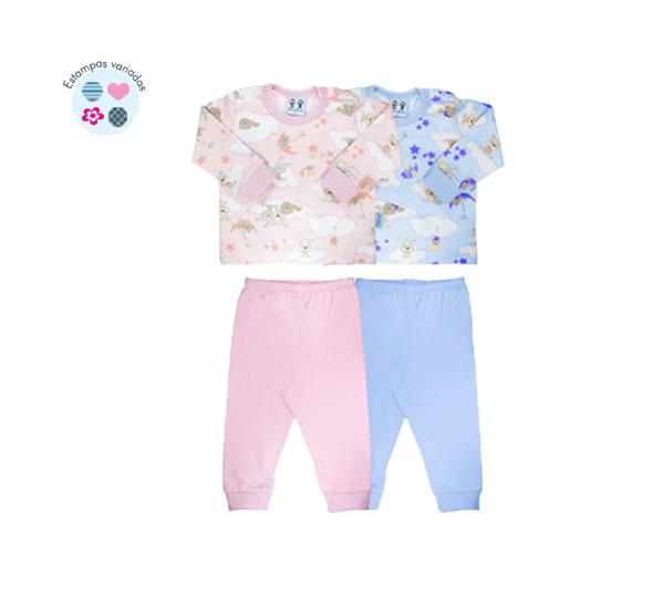 Pijama. Ref: 14-85. Cor: rosa, azul Tam: P ao GG. Malha 100% algodão