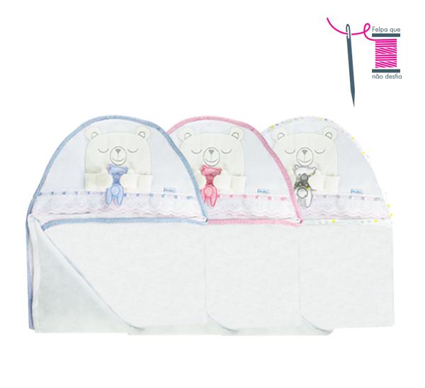 Toalha urso amoroso Ref: 16-151. Cor: azul, rosa, branco Tam: 120x78cm. Felpa com fralda removível