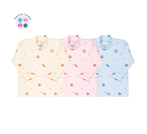 Camiseta Ref: 7-9 Tam: Rn ao GG Cores: neutro, menino, menina